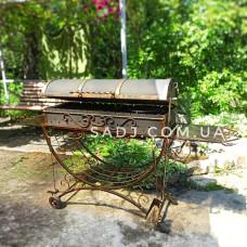 Мангал кованый 3*16 крышка, колеса 1м