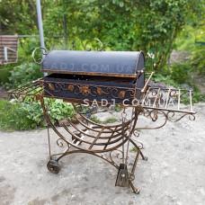 Мангал кованый 4*12 декор, крышка, колеса