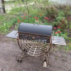 Мангал кованый 3*12 декор с крышкой и колесами гриль