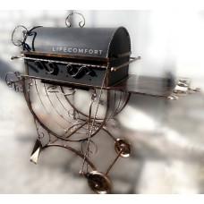 Мангал кованый 3*10 с крышкой и колесами гриль